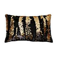 Black and Gold Mermaid Sequin Accent Pillow