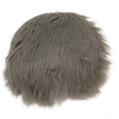 Silver Round Mongolian Fur Pillow