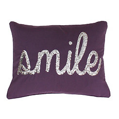 Violet Silver Smile Pillow