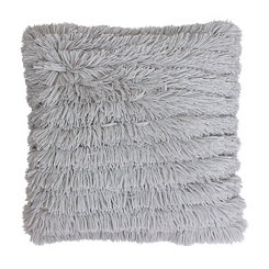 Silver Effie Fringe Fur Pillow