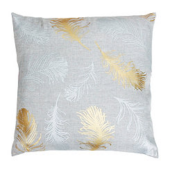 Silver Feather Foil Pillow