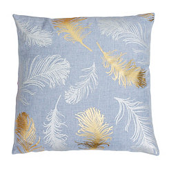 Zen Blue Feather Foil Pillow