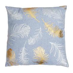 Zen Blue Feather Foil Pillow