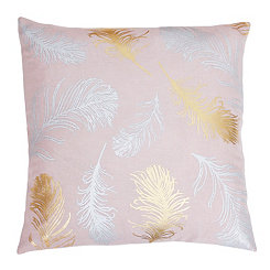 Rose Feather Foil Pillow
