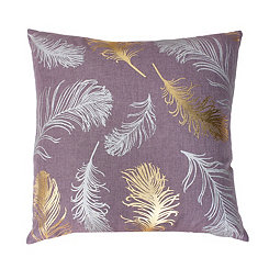 Purple Feather Foil Pillow