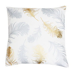 White Feather Foil Pillow
