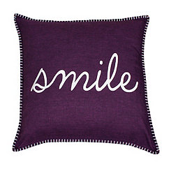 Purple Stitch Smile Pillow