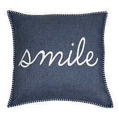 Navy Stitch Smile Pillow
