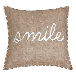 Tan Stitch Smile Pillow