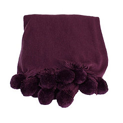 Blackberry Wine Plush Pom Throw