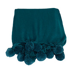 Teal Plush Pom Throw