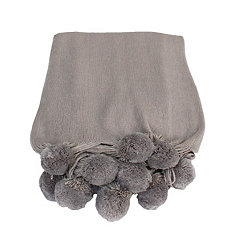 Silver Plush Pom Throw
