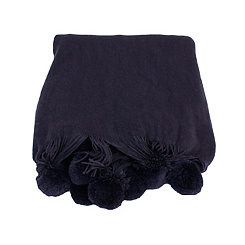Navy Plush Pom Throw