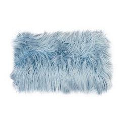 Blue Mongolian Fur Accent Pillow