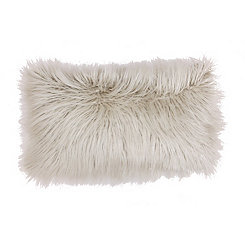 Oatmeal Mongolian Fur Accent Pillow
