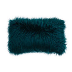 Teal Mongolian Fur Accent Pillow