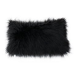 Black Mongolian Fur Accent Pillow