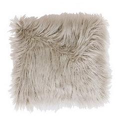 Oatmeal Mongolian Fur Pillow