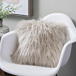 Oatmeal Mongolian Fur Pillow