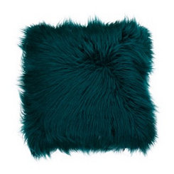 Teal Mongolian Fur Pillow