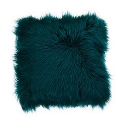 Teal Mongolian Fur Pillow