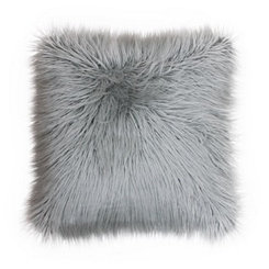 Silver Mongolian Fur Large Square Pillow