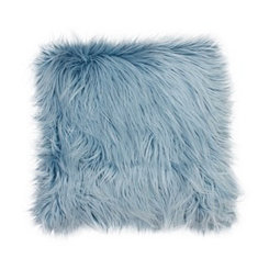 Blue Mongolian Fur Large Square Pillow
