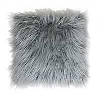 Silver Mongolian Fur Oversized Pillow