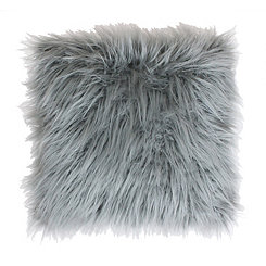 Silver Mongolian Fur Oversized Pillow