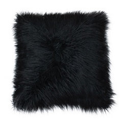 Jet Black Mongolian Fur Oversized Pillow