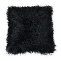 Jet Black Mongolian Fur Oversized Pillow