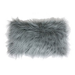 Silver Mongolian Fur Long Accent Pillow