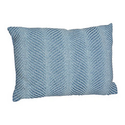 Blue Stone-washed Chevron Accent Pillow