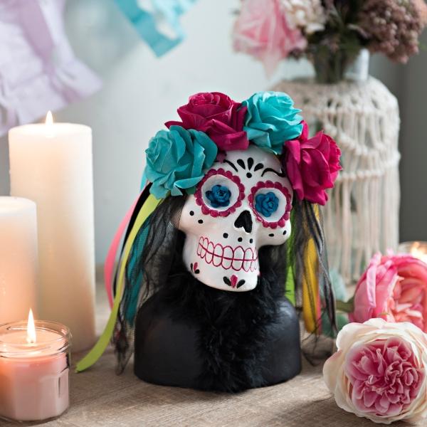 Flower Crowned Sugar Skull Bust Statue