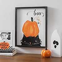 Pumpkin and Cat Halloween Framed Print