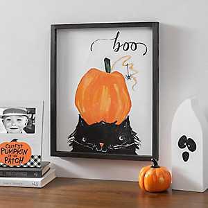 Pumpkin and Cat Halloween Framed Print