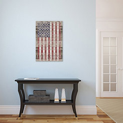 Wood Plank American Flag Canvas Art Print