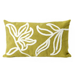 Green Embroidered Leaf Accent Pillow