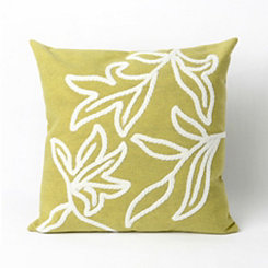 Green Embroidered Leaf Pillow