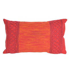Red Embellished Border Accent Pillow
