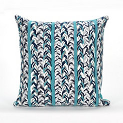 Blue Knit Stripe Pillow
