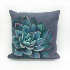 Navy Magnificent Bloom Pillow
