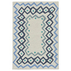 Blue Livia Border Outdoor Mat