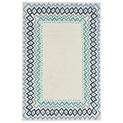 Blue Livia Border Outdoor Area Rug, 5x8