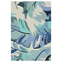 Livia Blue Tropical Leaf Outdoor Mat