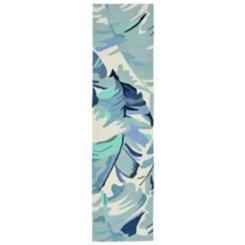 Livia Blue Tropical Leaf Outdoor Runner