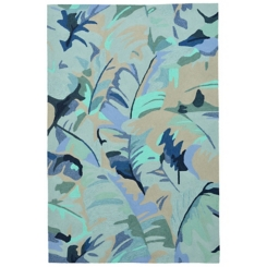 Livia Blue Tropical Leaf Outdoor Area Rug, 5x8
