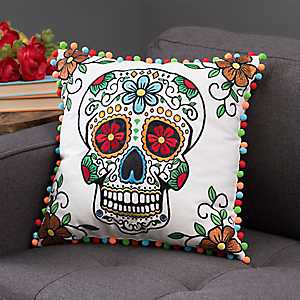 Sugar Skull Pom Pom Pillow