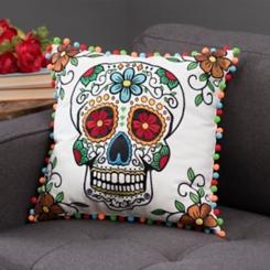 Sugar Skull Pom Pom Pillow