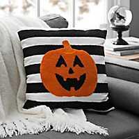 Black and White Striped Pumpkin Pillow